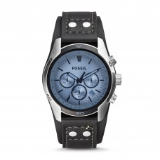 Fossil Blue Glass Chronograph Black Leather Strap Men's Watch CH2564