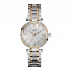 GUESS  Park Ave Ladies Silver Watch With Rose Gold Detailing W0636L1