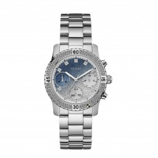 GUESS Ladies silver watch with crystals, light blue & silver glitter dial and silver bracelet W0774L6