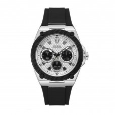 Guess Gents Silver Tone/Black Case Black Silicone Watch W1049G3