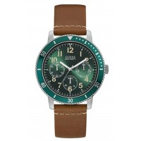 GUESS W1169G1 Mens Quartz Watch, Analog Display and Leather Strap