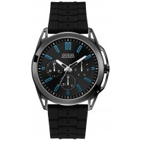 GUESS W1177G1 Gents gunmetal watch with black dial and silicone strap