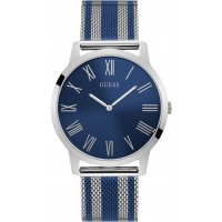 GUESS W1179G1 Gents silver watch with two tone mesh bracelet.