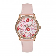 GUESS W1206L3  SMOOCH ROSE GOLD STAINLESS STEEL PINK LEATHER STRAP WOMEN'S WATCH