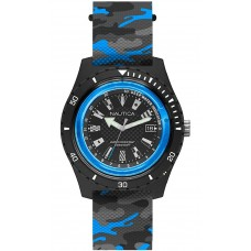 NAUTICA 46mm Resin Case Camo Silicone Strap Men's Watch SURFSIDE BLUE NAPSRF009