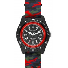 NAUTICA 46mm Resin Case Camo Silicone Strap Men's Watch SURFSIDE RED NAPSRF008