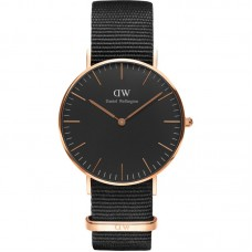 DANIEL WELLINGTON 36mm Classic Black Cornwall Ladies Watch DW00100150