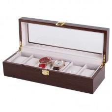 Wooden Watch Collection box 6 Slot Storage (Brown)