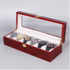 Wooden Watch Collection box 6 Slot Storage (Red)