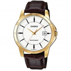 CASIO MTP-V004GL-9AUDF MEN'S ANALOG DATE GOLD PLATED LEATHER WATCH
