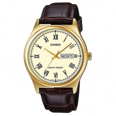 CASIO MTP-V006GL-9BUDF MEN'S ANALOG DAY DATE LEATHER WATCH