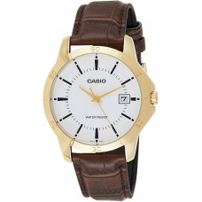 CASIO MTP-V004GL-7AUDF MEN'S ANALOG DATE GOLD PLATED LEATHER WATCH