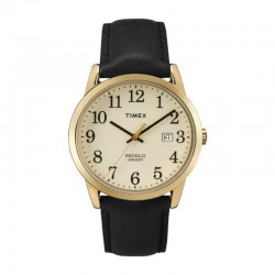 Timex TW2P75700 Men's Analog Quartz Black Leather Strap Watch