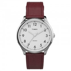Timex Easy Reader Burgundy Leather Strap Silver Tone Case Watch - TW2T72200