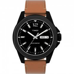 TIMEX TW2U15100 MEN'S ESSEX AVENUE 44MM BLACK DIAL BROWN LEATHER STRAP WATCH